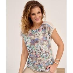 bluzka damska Sunwear D16-2-15 w kwiatki beżowa rozmiar 38 40 44 46