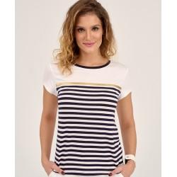 bluzka damska Sunwear D20-3-30 biała w paski rozmiar 38 40 46