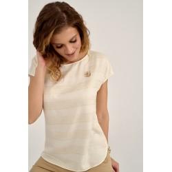 bluzka damska Sunwear D21-2-03 kremowa w paski rozmiar 42 46 48
