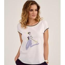 bluzka bawełniana Sunwear D41-2-08 kremowa rozmiar 38 40 42 44 46