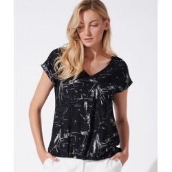 bluzka damska naturalna Feria FH39-2-02 czarna rozmiar 38 40 42 44