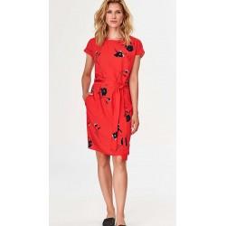 Sukienka damska Feria FF238-2-07 czerwona w maki rozmiar 0 42 44 46