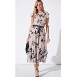 sukienka czarne liście Feria FH226-3-23 jasny beż rozmiar 38 40 42 44