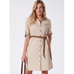 sukienka Feria FH217-4-23 jasno beżowa rozmiar 38 40 44