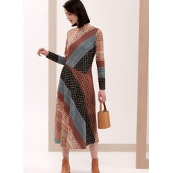 sukienka Feria FG218-5-24 jasno brązowa rozmiar 42 44