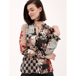 bluzka w kwiaty Feria FG19-5-23 wielokolorowa rozmiar 40 44