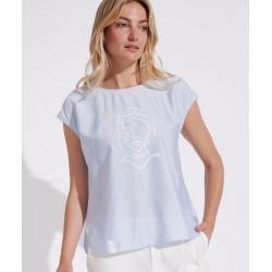 bluzka w paseczki Feria FH12-2-15 błękitna rozmiar 44 46