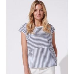 bluzka na lato Feria FH26-2-15 paski niebieska rozmiar 38 44 46