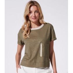 bluzka krótki rękaw Feria FH45-3-36 khaki rozmiar 40 42 44 48