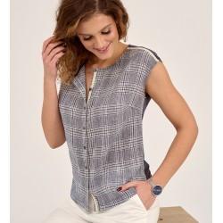 bluzka damska Sunwear D17-2-53 w kratkę niebieska rozmiar 38 46