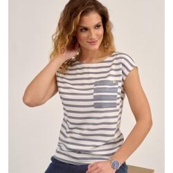 bluzka Sunwear D24-2-15 w paski jeans biały rozmiar 38 40 42 44 46 8