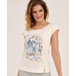 bluzka z kwiatkiem Sunwear D40-2-15 kremowa rozmiar 44 46 48