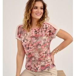 bluzka letnia Sunwear D16-2-61 beżowo różowa rozmiar 46 48