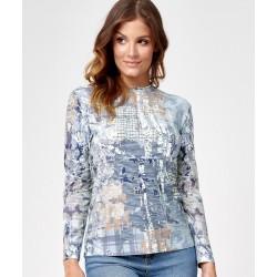 bluzka z wzorkiem Sunwear C20-5-15 błękitna rozmiar 42
