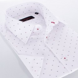 Koszula Comen z krótkim rękawem biała w jodełkę ze wzorem z kropek