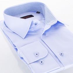 Niebieska gładka koszula Comen z długim rękawem i wykończeniem w kratkę