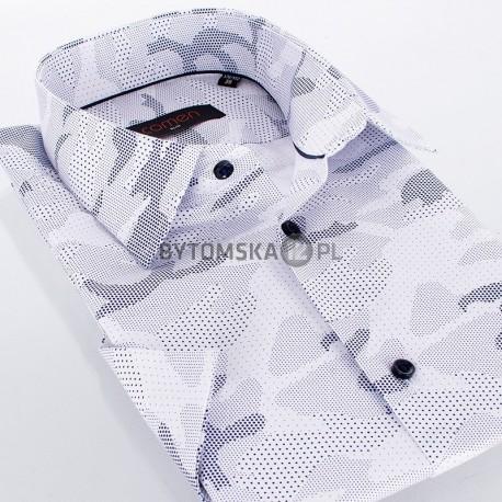 Biała koszula Comen z krótkim rękawem - mozaika z granatowych kropek