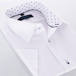 Biała koszula Comen z krótkim rękawem i wykończeniem w romby - regular