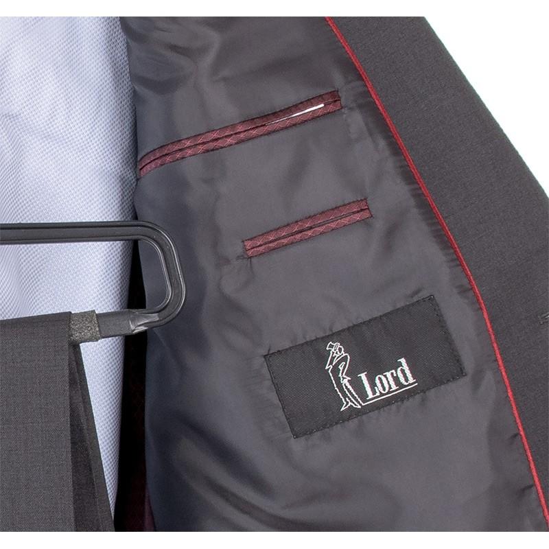 Grafitowy wełniany garnitur Lord T-239 - duże rozmiary