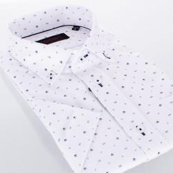 Biała koszula regular Comen White Structure z krótkim rękawem