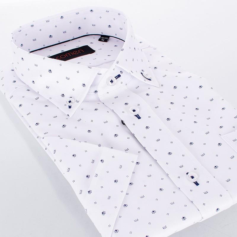 Biała koszula regular Comen z krótkim rękawem White Structure i granatowym wzorkiem