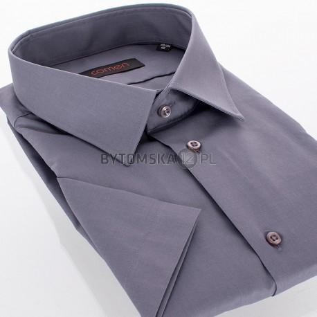 Ciemnoszara gładka bawełniana koszula Comen z krótkim rękawem regular
