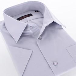 Szara gładka bawełniana koszula Comen z krótkim rękawem - regular