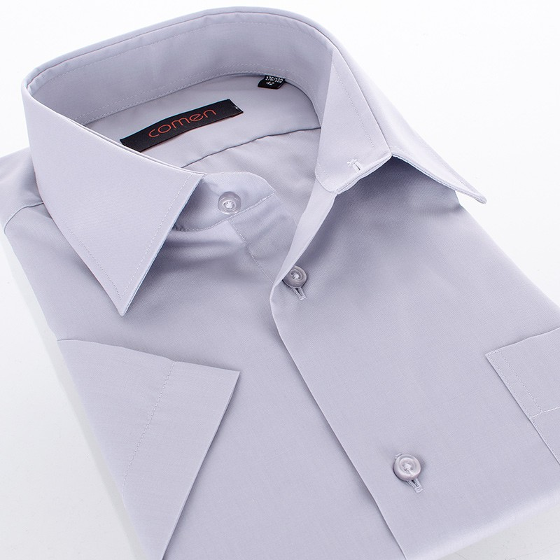 Szara gładka bawełniana koszula Comen z krótkim rękawem