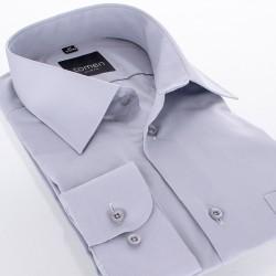 Szara bawełniana koszula Comen z długim rękawem i kieszenią - slim