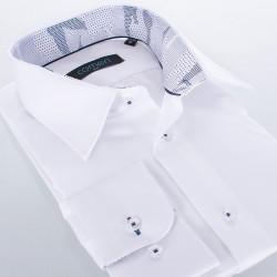 Biała koszula Comen z długim rękawem i wykończeniem w kropeczki