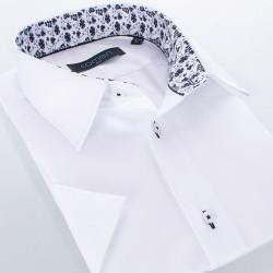 Biała koszula Comen z krótkim rękawem i wykończeniem w czarne kwiaty - slim