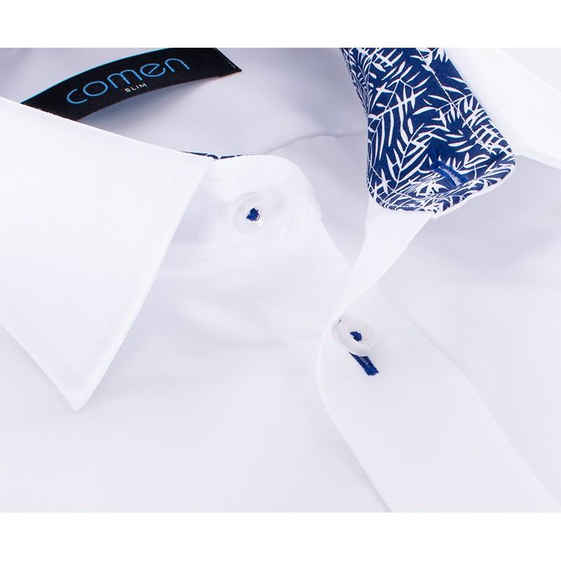 Biała koszula Comen z krótkim rękawem i wykończeniem w liście palmy
