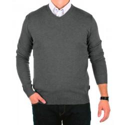 Szary sweter bawełniany Jordi J-832 v-neck rozmiar M L XL 2XL 3XL