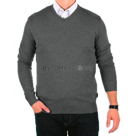 Szary sweter bawełniany Jordi J-832 v-neck