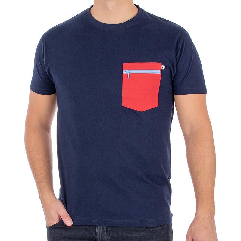 T-shirt Kings 750-101Z granatowy z czerwoną kieszenią na zamek