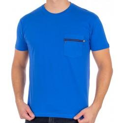 T-shirt Kings 750-101Z jasny chabrowy z naszywaną kieszenią na zamek