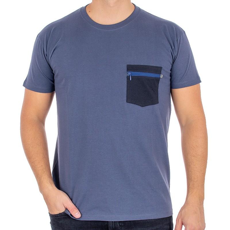 T-shirt Kings 750-101Z U-neck jeansowy z granatową kieszenią na zamek