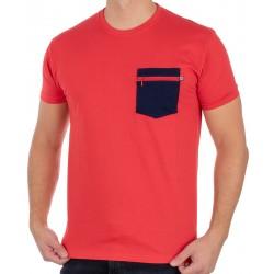 Czerwona koszulka T-shirt Kings 750-101Z z granatową kieszenią na suwak