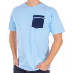Jasnoniebieska koszulka Kings 750-101Z z granatową kieszenią na zamek