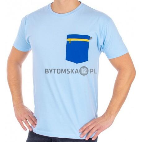Koszulka Kings 750-101Z jasnoniebieska granatową kieszenią na zamek
