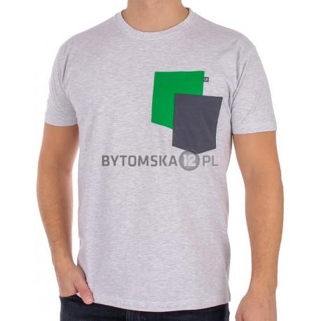 T-shirt Kings 750-101KK z dwoma kieszeniami - popielato-szary melanż
