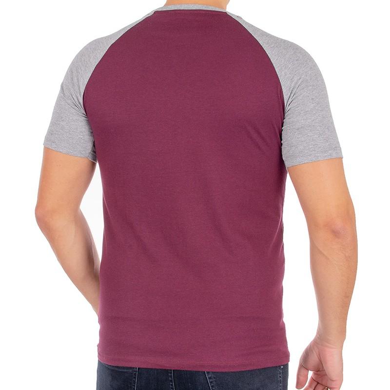 Bordowo-szary t-shirt Kings 750-11190K bawełniany z naszytą kieszenią