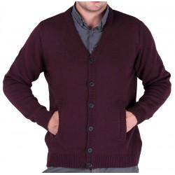 Sweter Lasota Roman kardigan rozpinany na guziki - kolor śliwka