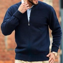 Granatowy sweter Lasota Lukas rozpinany z przeszyciem M L XL 2XL 3XL