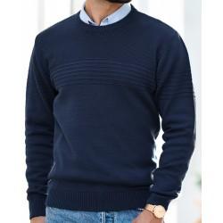 Granatowy sweter Lasota Lukas pod szyję z delikatnym wzorem