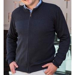 Sweter Lasota Konrad rozpinany z przeszyciem - navy