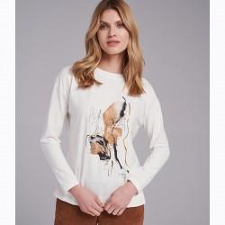 bluzka długi rękaw Feria FI15-5-01 ekrii rozmiar 38 40 46