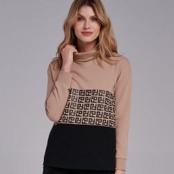 sweter Feria FI56-5-23 golf czarno beżowy rozmiar 38 42 44 46