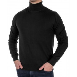 Czarny golf męski Jordi J-790 bawełniany, cienki