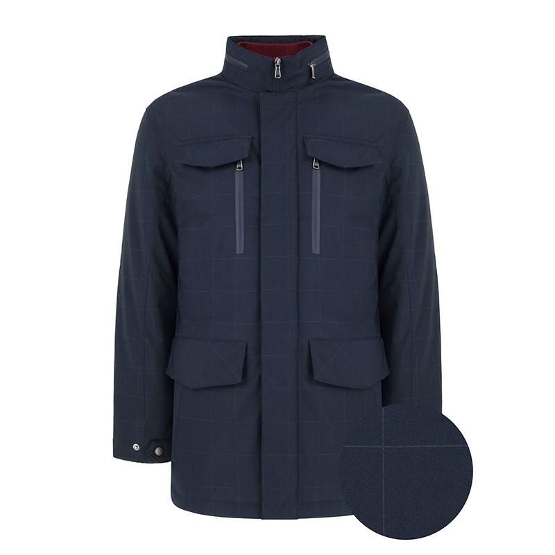 Granatowa kurtka Tris Line Alvar w delikatną kratkę